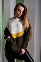 Женский разноцветный удлиненный свитер (белый/желтый/коричневый, 44-50, PF-8412-4)