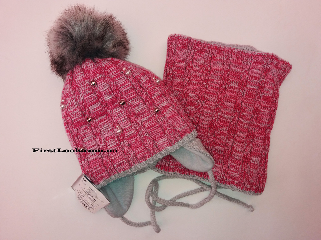 Детский зимний комплект шапка и снуд на девочку.(2-3 года)