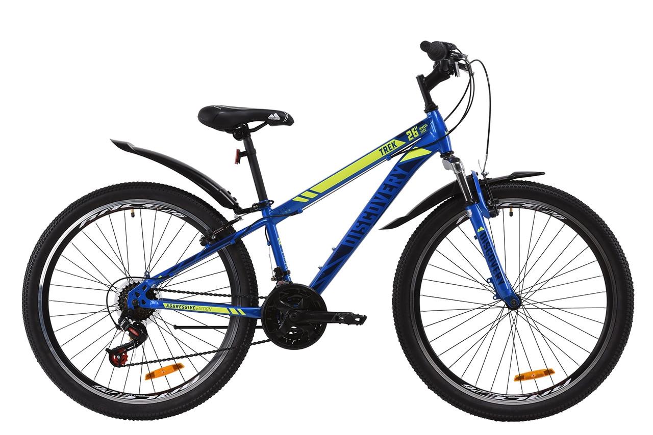 """Велосипед горный универсальный 26"""" Discovery Trek AM V-BR 2020 размер рамы 15"""" синий"""
