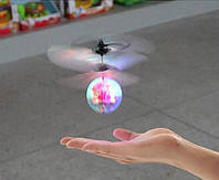 Летающий шар вертолёт светящийся сенсор Flying Ball Air led от руки, летающий диско шар