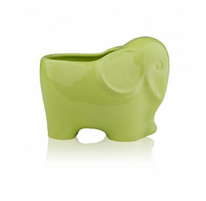 Кашпо Слоник 14,5*9,5*11 см (белый, зеленый) ETERNA 3106-11