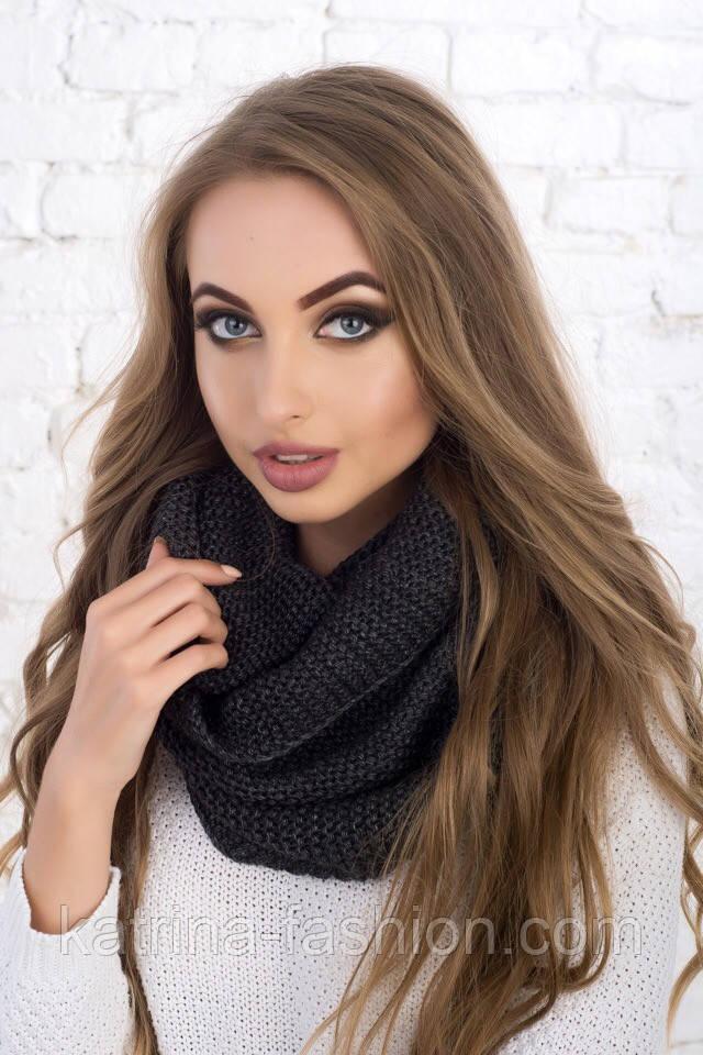 Женский вязаный шарф хомут-снуд (в расцветках)