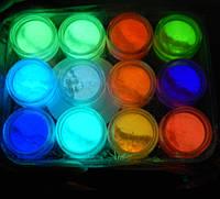 Люминесцентные пигменты (светятся в темноте) набор 12 цветов