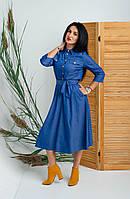 Женское платье миди из тонкого джинса. Размеры 42, 44, 46, 48, 50, фото 1