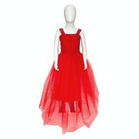 Детское длинное нарядное красное платье с пышной юбкой