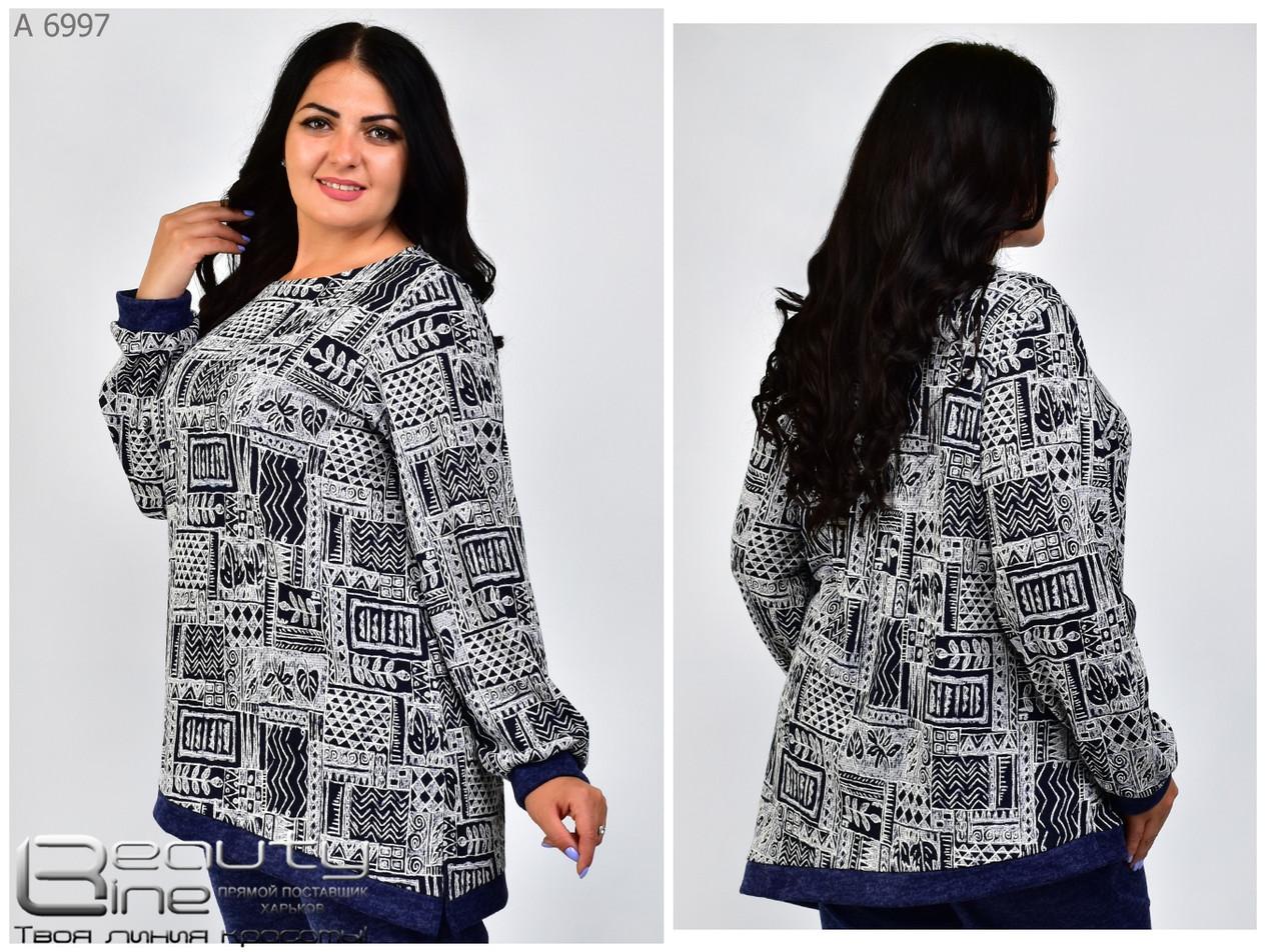 Модная женская теплая туника с асиметричным краем из ангоры с 54 по 66 размер