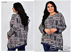 Модная женская теплая туника с асиметричным краем из ангоры с 54 по 66 размер, фото 2