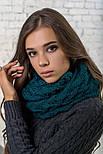 Женский вязаный шарф хомут-снуд восьмерка с узором Коса(в расцветках), фото 3