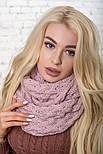 Женский вязаный шарф хомут-снуд восьмерка с узором Коса(в расцветках), фото 2