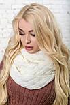 Женский вязаный шарф хомут-снуд восьмерка с узором Коса(в расцветках), фото 7