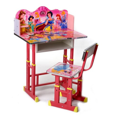 Детская деревянная парта для обучения и стульчик Принцессы Disney