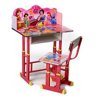 Детская деревянная парта для обучения и стульчик Принцессы Disney, фото 1