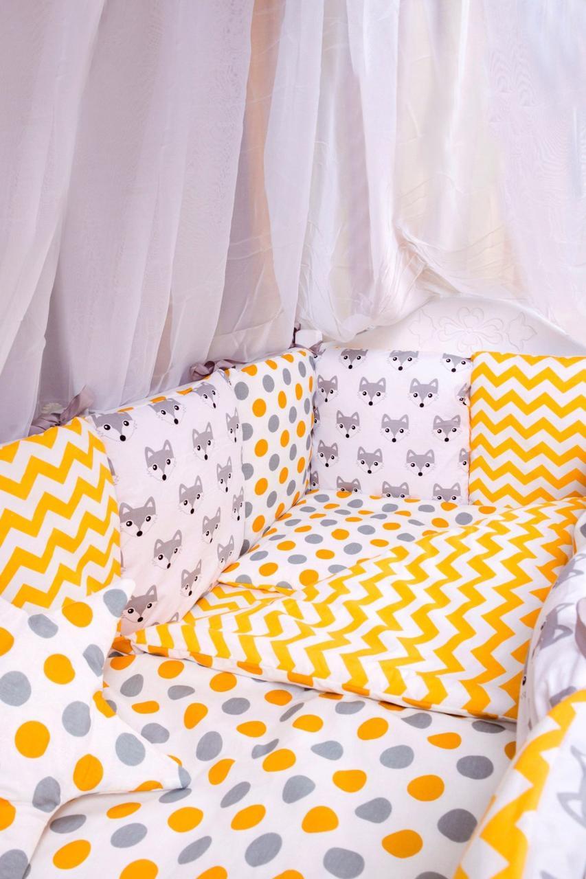 Дитяча постіль Babyroom Bortiki lux-08 fox помаранчевий - сірий