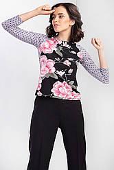 Легкая блуза лонгслив MARINA с цветочным принтом и рукавами реглан в горошек