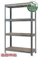 Стеллаж металлический для склада/магазина/гаража ЧК-300 1960х1200х600, оцинк.,4 полки ДСП, до 480 кг/полку