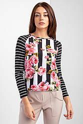 Легкая блуза лонгслив MARINA с полосатыми рукавами реглан и цветочным принтом