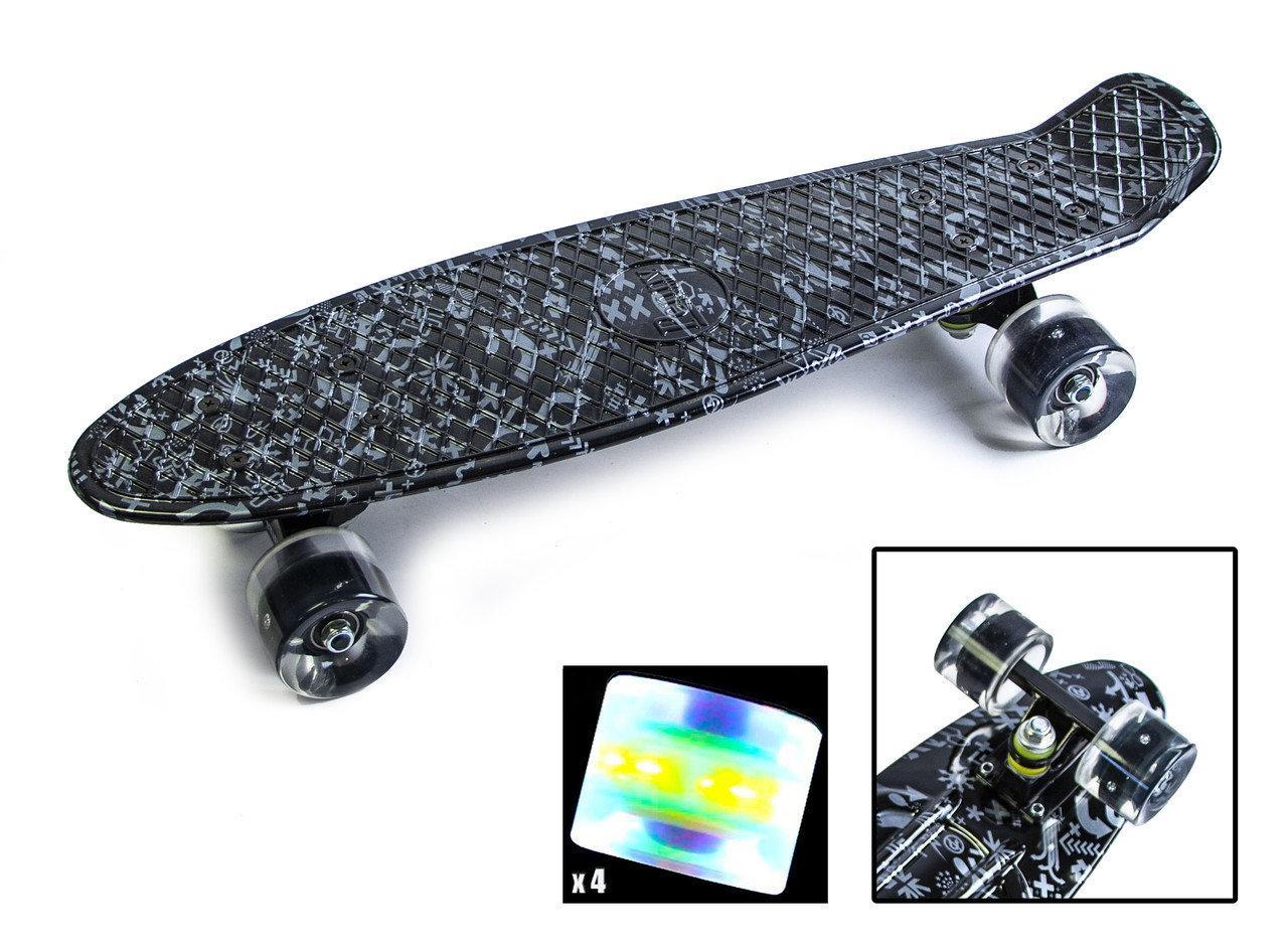 "Скейт ""Penny Board"" ""ARROWS"" Светящиеся колеса"