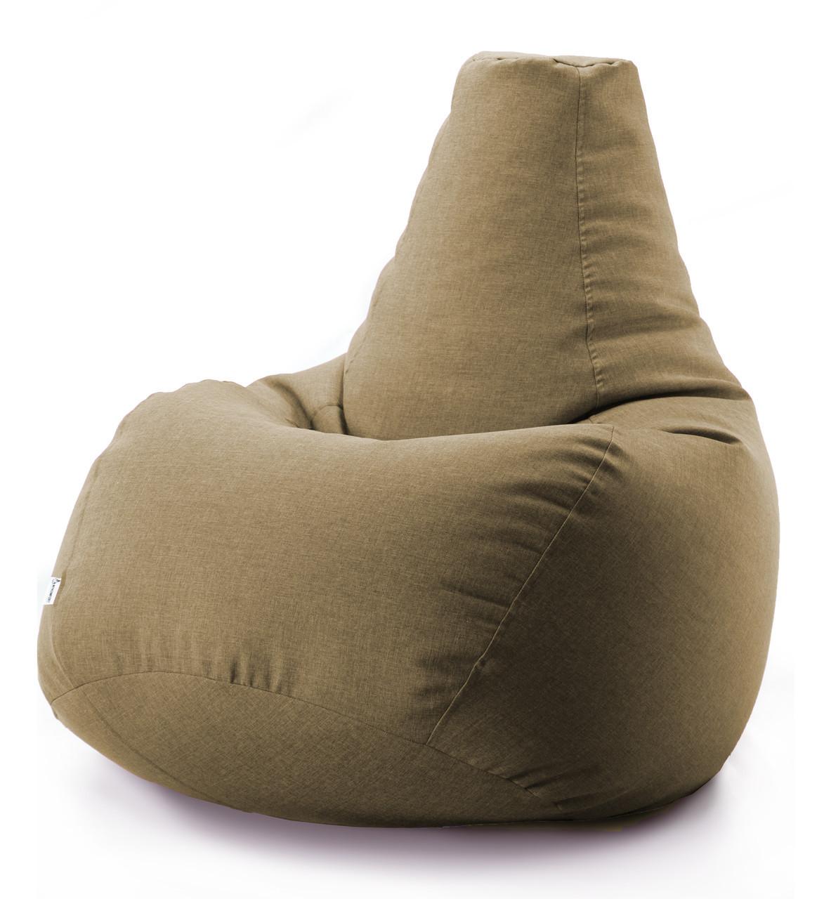 Кресло мешок груша микро-рогожка 100*140 см Бежевый