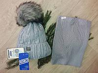 Зимняя детская шапка и снуд(хомут)на девочку.Польша, фото 1