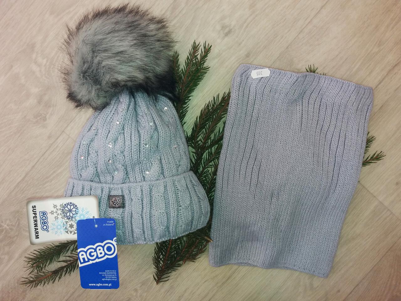Зимняя детская шапка и снуд(хомут)на девочку.Польша