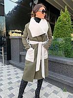 Стильная женская двухсторонняя дубленка-пальто