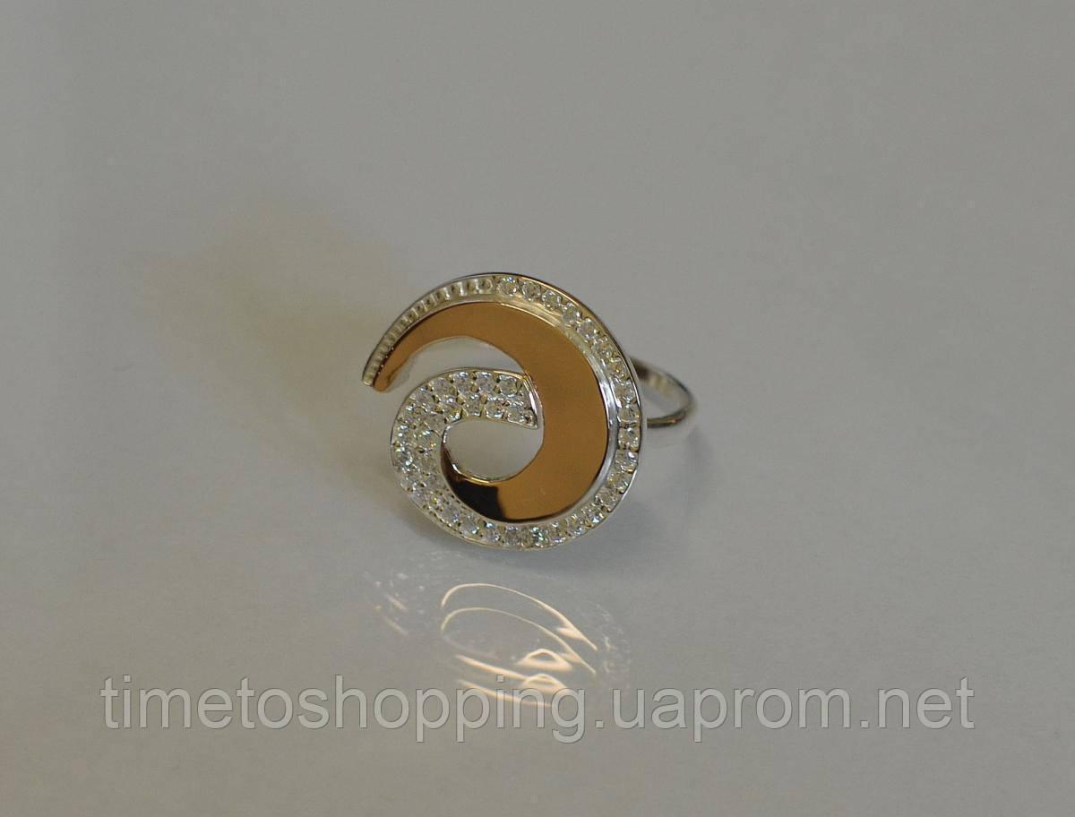 Кольцо серебряное с золотом