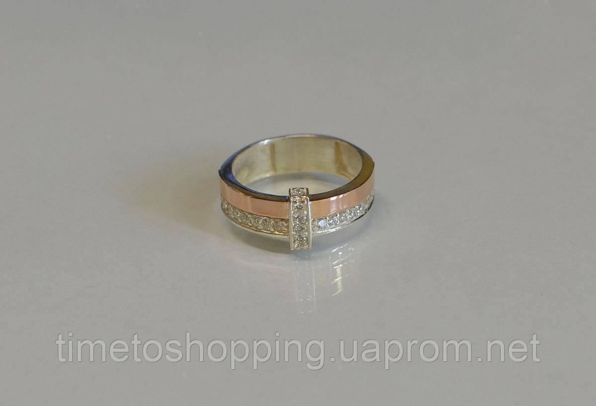 Кольцо серебряное с золотыми вставками и фианитами