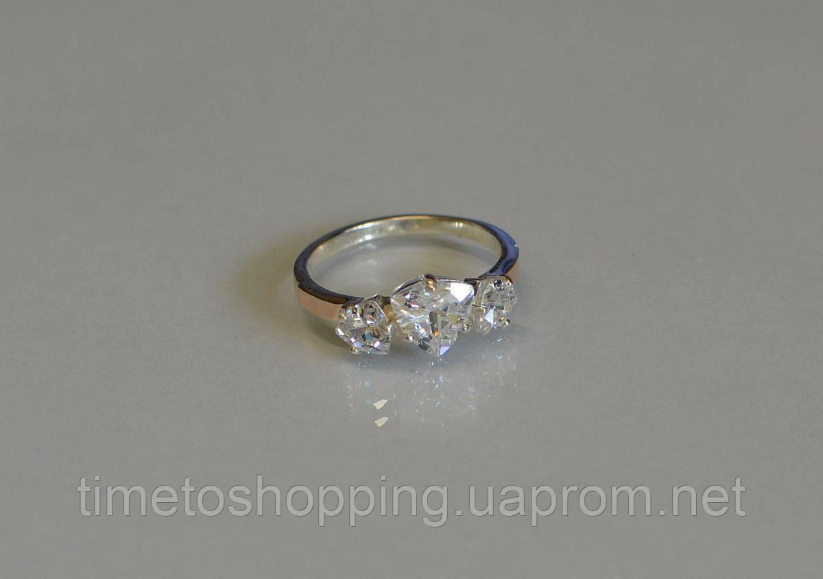 Кольцо серебряное с золотыми накладками (пластинами)