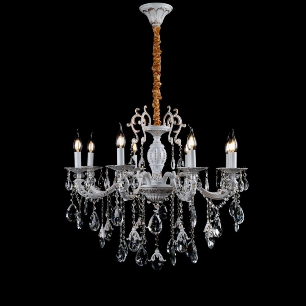 Классическая люстра-свеча на 8 лампочек СветМира золотая патина VL-41421/8 (WT+GD)