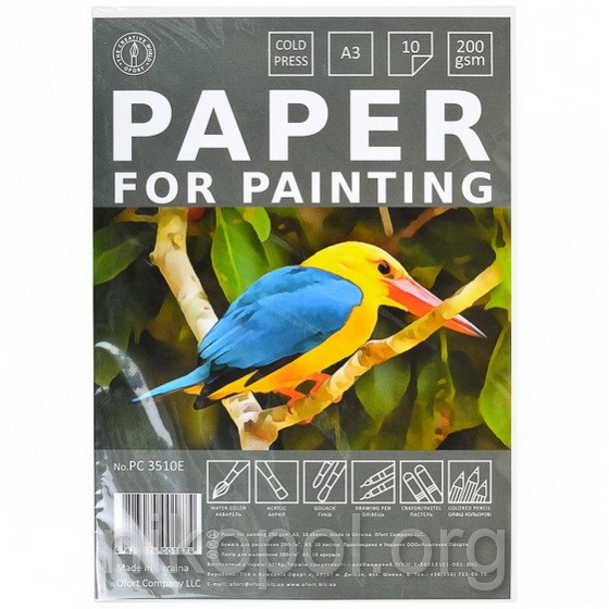 """Бумага для акварели """"Офорт"""", А3 10 листов (Птица)"""