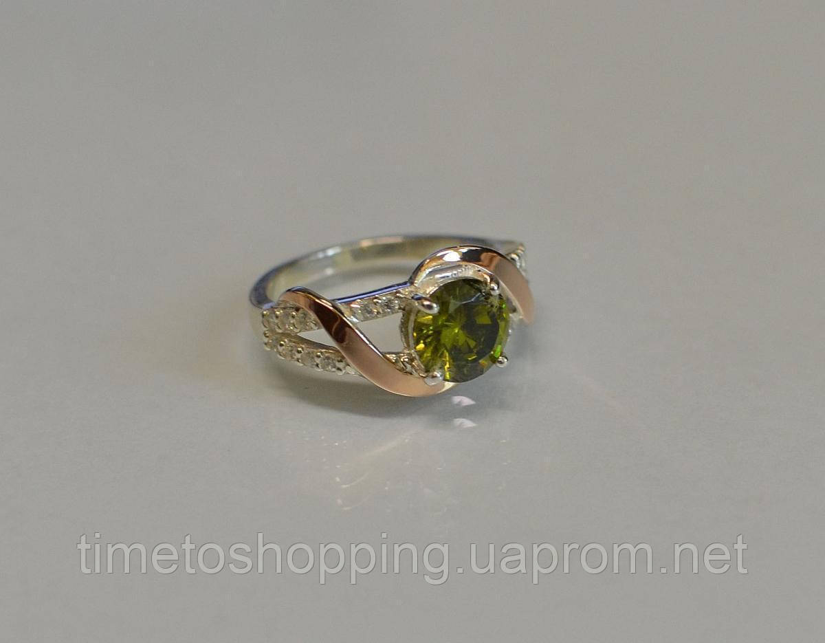 Серебряное кольцо с золотыми накладками и кубическим цирконием