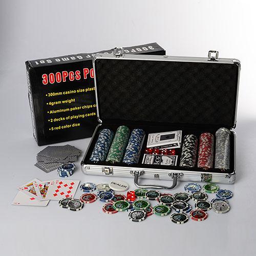 Набір для покеру (300 фішок З НОМІНАЛОМ, 2 колоди карт, 5 кубиків), у валізі. 38,5-20-6 см
