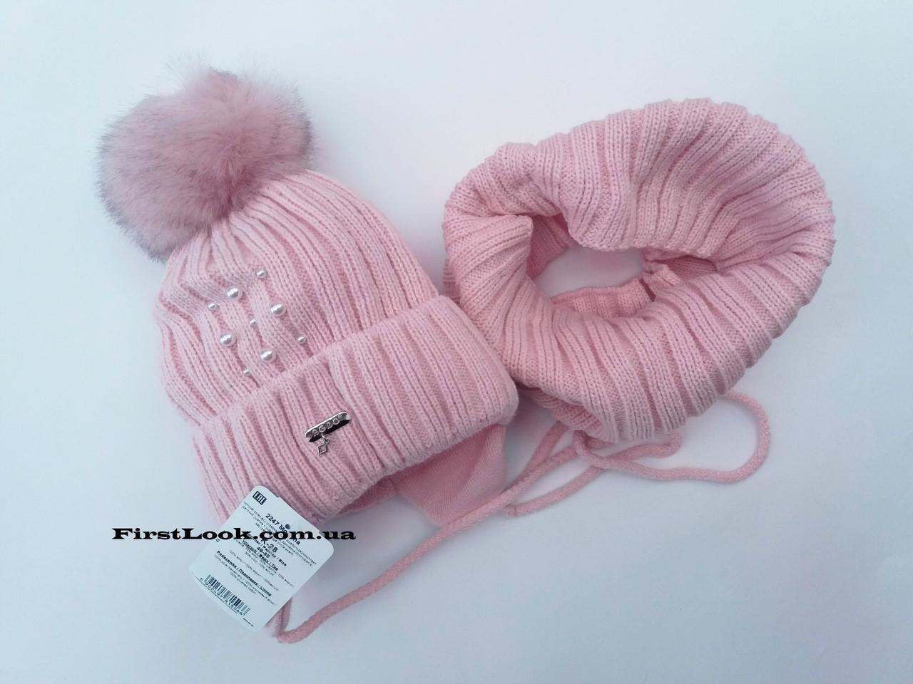 Зимний детский комплект шапка и снуд на девочку.(4-7 лет)
