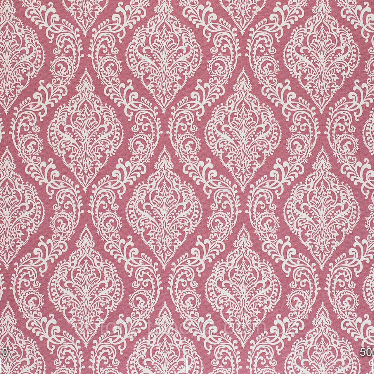 Шторы римские с белыми узорами на розовом фоне Турция