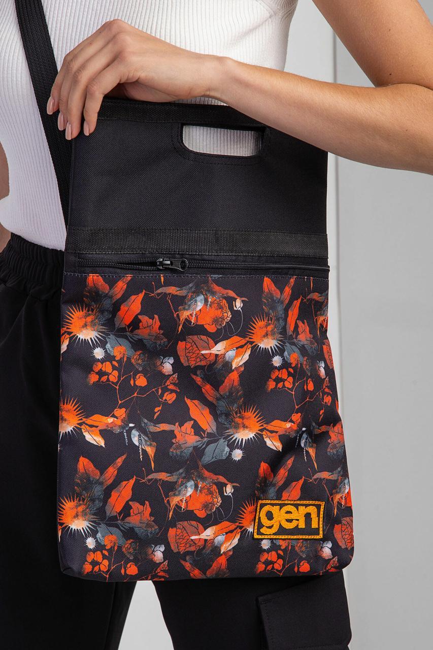 Принтованная сумка через плечо с широким ремешком