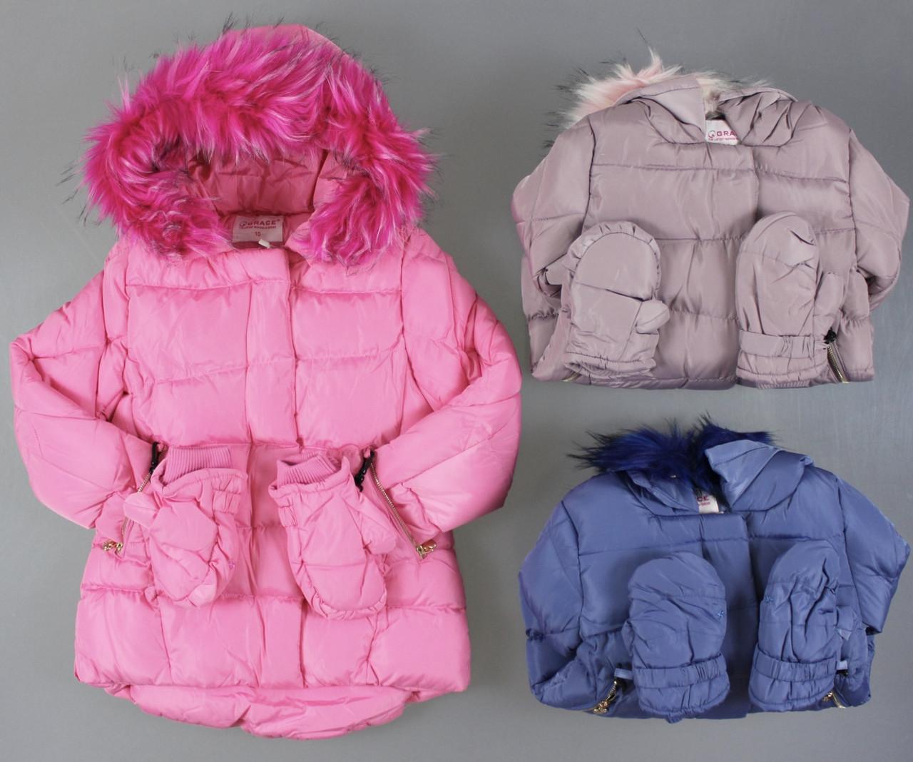 {есть:4 года}  Куртка на меховой подкладке для девочек Grace , .