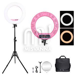 Профессиональная кольцевая лампа MakeUp FT-R480 с штатив-треногой для косметологии (pink)