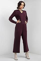 Брючный комбинезон FATE из трикотажа цвета марсала с укороченными брюками клеш и длинными рукавами