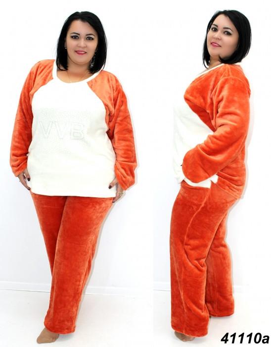 Уютная махровая пижама женская большого размера
