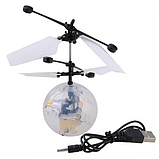Летающий шар вертолёт светящийся сенсор Flying Ball Air led от руки, летающий диско шар, Детские товары, фото 3