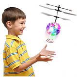 Летающий шар вертолёт светящийся сенсор Flying Ball Air led от руки, летающий диско шар, Детские товары, фото 4