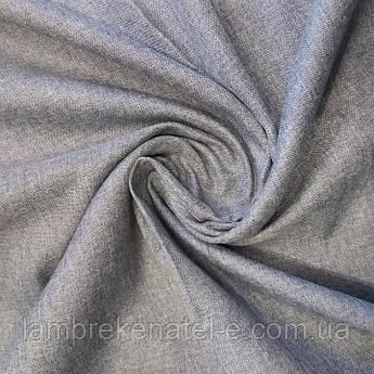 Шторы лен блэкаут серый меланжированний в спальню