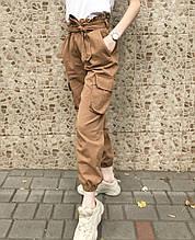 Брюки карго женские с карманами  (коричневые)