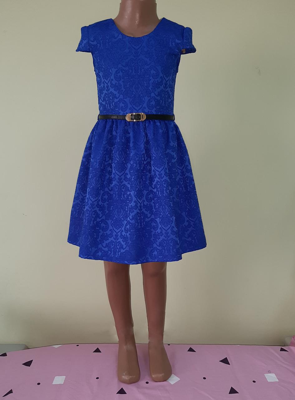 Святкова дитяча жаккардовасукня, синя, розмір 98