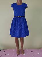 Святкова дитяча жаккардовасукня, синя, розмір 98, фото 1