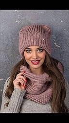 Женский вязаный комплект: шапка ушки с подворотом и шарф-хомут (в расцветках)