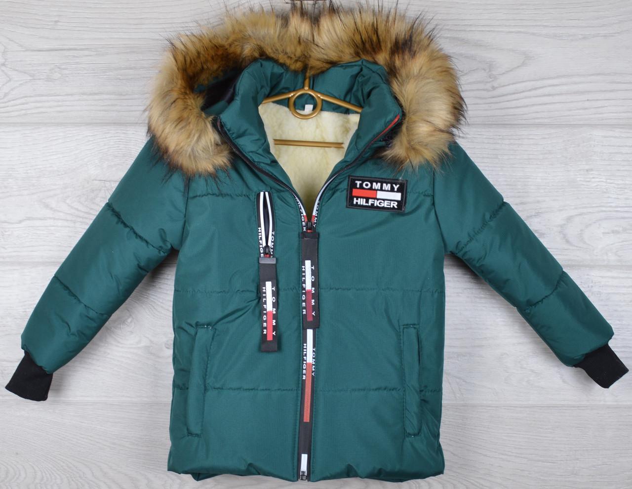 """Куртка зимняя """"Tomy реплика"""" для мальчиков. 4-5-6-7-8 лет (104-128 см). Зеленая. Оптом."""