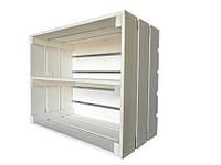 Ящик деревянный белый длинной полкой (ДхШхВ:50*40*24см)