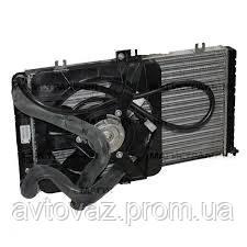 Радиатор основной ВАЗ 2170, 2171, 2172 Приора с трубопроводом и электровентилятором в сборе АвтоВАЗ