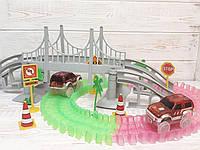 Magic Tracks 360 мост, перекрёсток, 2 машинки, светящаяся гоночная трасса